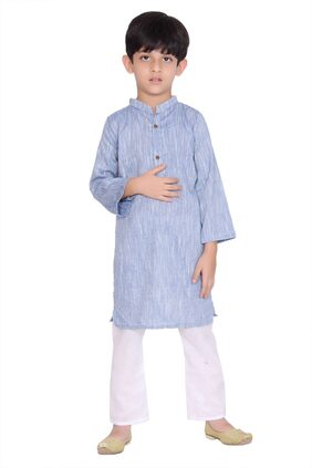 KASTIEL Boy Cotton Checked Kurta Pyjama Set - Blue