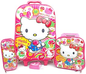 Kathiyawad Shopping 3D Waterproof Kitty Kids Children's Trolly Bag Includes Lunch Box & Pencil Pouch ( 22 L )