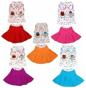Kavin's Baby Girls Cute & Attractive Dress Set,Pack of 5, Multicolored