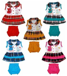 Kavin's Baby Girls Cute & Attractive Frock with Bottoms,Pack of 5, Multicolored