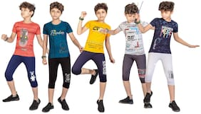 Kavin's Boys Clothing Sets, Pack of 5, Multicolored