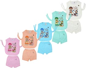 Kavin's New Born Dress Set for Toddlers,Pack of 5, Multicolored-174