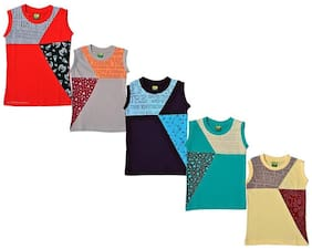 Kavin's Trendy & Stylish Cotton Sleeveless T-Shirts for Kids, Multicolored, Pack of 5