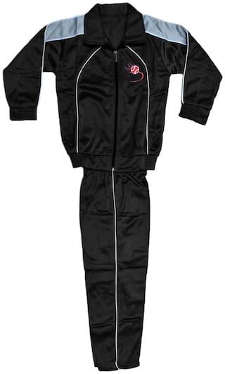 Kavya Polyester Solid Top & Bottom Set - Black