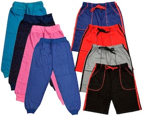 KAVYA Boys Cotton Solid Capri and Shorts/Bermuda (Pack of 8)(Multi)