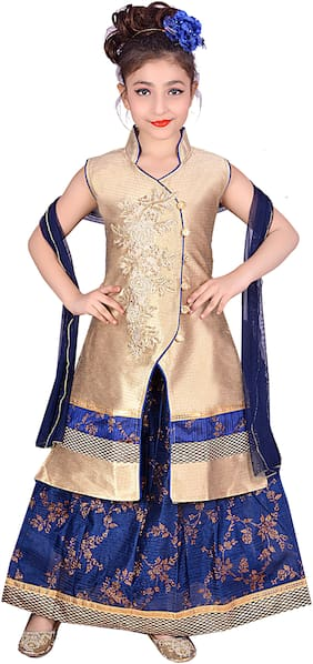 KBKIDSWEAR Girl's Silk blend Solid Sleeveless Lehenga choli - Purple
