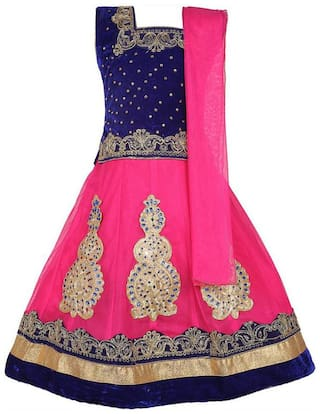 KBKIDSWEAR Girl's Silk blend Solid Sleeveless Lehenga choli - Pink