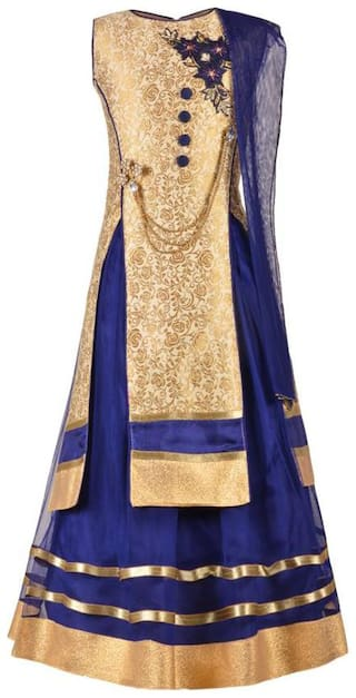 KBKIDSWEAR Girl's Silk blend Solid Sleeveless Lehenga choli - Blue