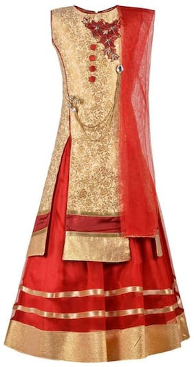 KBKIDSWEAR Girl's Silk blend Solid Sleeveless Lehenga choli - Red