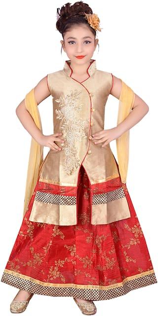KBKIDSWEAR Girl's Silk blend Solid Sleeveless Lehenga choli - Red