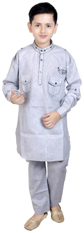 KBKIDSWEAR Boy Cotton Solid Kurta pyjama set - Grey