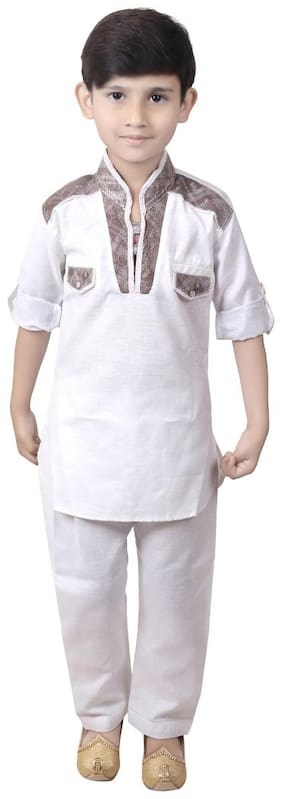 KBKIDSWEAR Boy Cotton Solid Kurta pyjama set - Multi