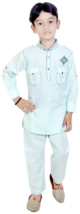 KBKIDSWEAR Boy Cotton Solid Kurta pyjama set - Blue