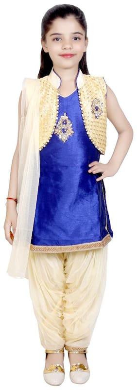 KBKIDSWEAR Girl's Silk Embellished Sleeveless Kurti & salwar set - Blue