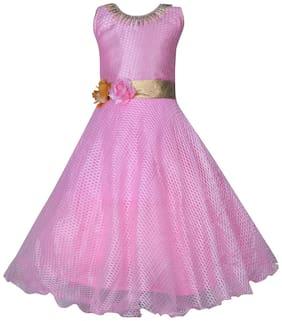 KBKIDSWEAR Girl's Net Solid Sleeveless Gown - Pink