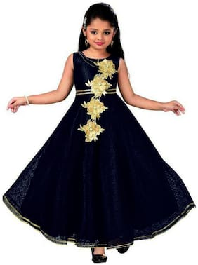 KBKIDSWEAR Blue Satin Sleeveless Knee Length Princess Frock ( Pack of 1 )
