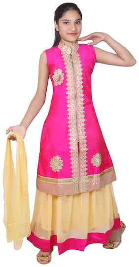 KBKIDSWEAR Girl's Silk Embellished Sleeveless Lehenga choli - Pink