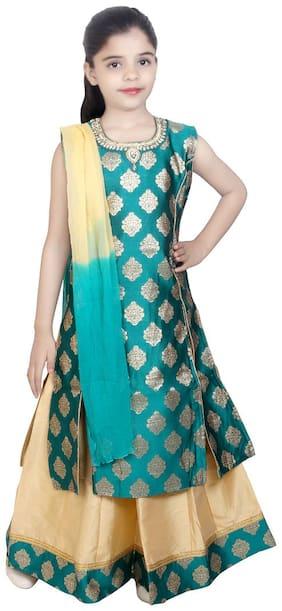KBKIDSWEAR Girl's Silk Solid Sleeveless Kurta & kurti - Green