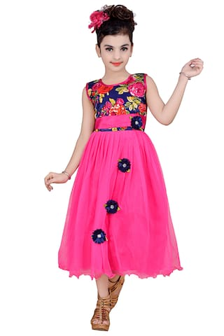 756d363c41dd Buy KBKIDSWEAR Girl Net Solid Frock - Pink Online at Low Prices in ...