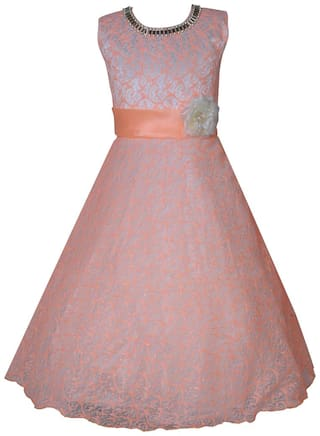 KBKIDSWEAR Girl's Self Design Party Wear Premium Net Gown (8 - 9 Years)
