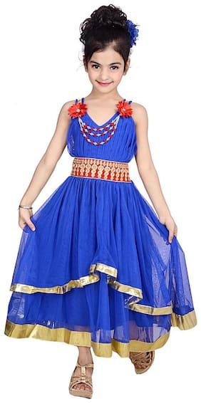 KBKIDSWEAR Girl's Solid Design V-Neck Dress (6 - 7 Years)