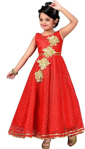 KBKIDSWEAR Girl Satin Floral Frock - Red