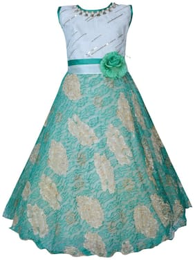 KBKIDSWEAR Girl's Embroidered Design Party Wear Premium Net Gown (6 - 7 Years)