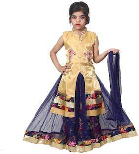 KBKIDSWEAR Girl's Silk Embellished Sleeveless Lehenga choli - Multi