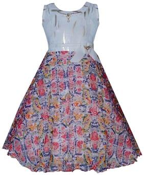 KBKIDSWEAR Girl's Net Printed Sleeveless Gown - Multi