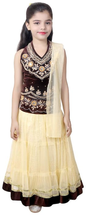 KBKIDSWEAR Girl's Embroiderey Party Wear Velvet;Net Lancha with Dupatta Set