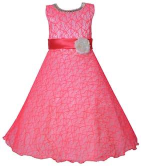 KBKIDSWEAR Girl Net Self Design Gown - Pink
