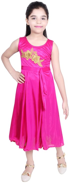 KBKIDSWEAR Girl's Round Neck Party Wear Lycra Net Ball Gown