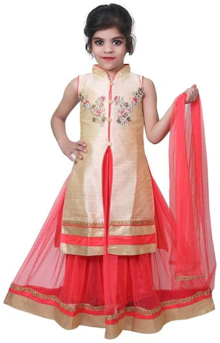 KBKIDSWEAR Girl's Silk Embellished Sleeveless Lehenga choli - Orange