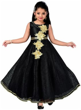 KBKIDSWEAR Black Satin Sleeveless Knee Length Princess Frock ( Pack of 1 )