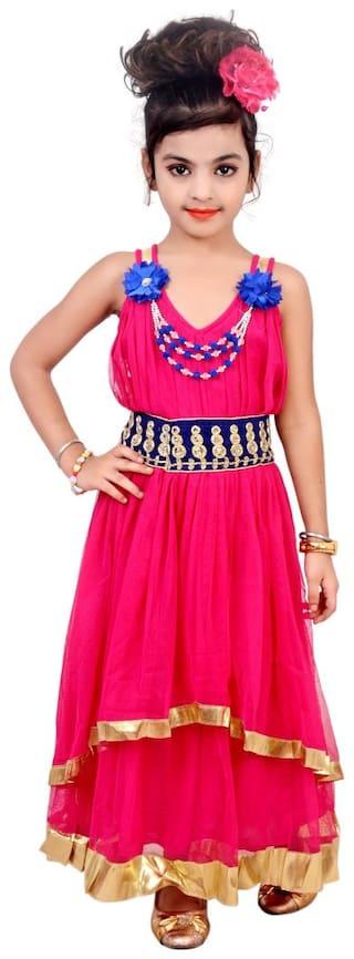 KBKIDSWEAR Girl's Solid Design V-Neck Dress (4 - 5 Years)