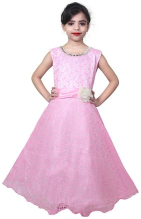 KBKIDSWEAR Girl's Self Design Party Wear Premium Net Gown (3 - 4 Years)