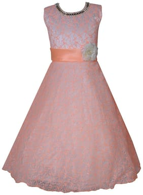 KBKIDSWEAR Girl's Self Design Party Wear Premium Net Gown (6 - 7 Years)