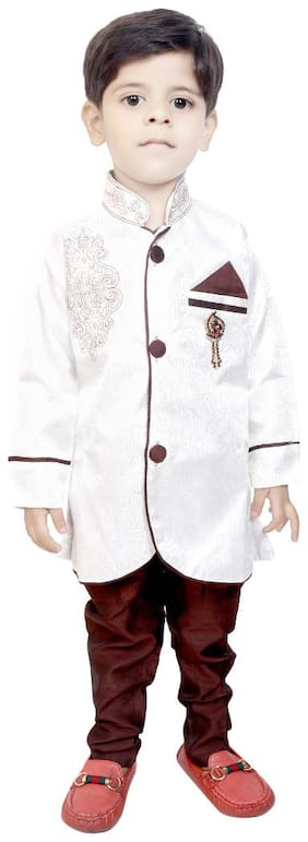 KBKIDSWEAR Boy Silk blend Solid Sherwani - Cream