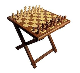 Kesha Spree Premium Quality Handmade Wooden Table Chess - Foldable with Storage Box (12 Inch) in Multicolor- Tournament Chess Table