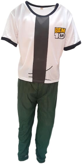 Kaku Fancy Dresses Ben Super Hero Costume -White & Green, 7-8 Years, For Boys