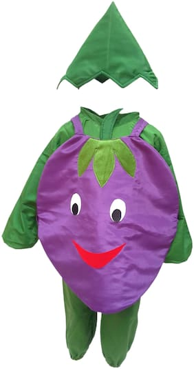Kaku Fancy Dresses Brinjal Vegetables Costume -Purple & Green, 5-6 Years, For Boys & Girls