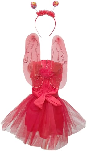 Kaku Fancy Dresses Red Butterfly Insect Costume -Red, 3-4 Years, For Girls