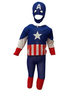 Kaku Fancy Dresses Brave American Little Captain Super Hero Costume -Blue, 7-8 Years, For Boys
