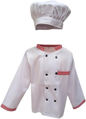 Kaku Fancy Dresses Our Community Helper Chef Costume -White, 5-6 Years, For Boys & Girls