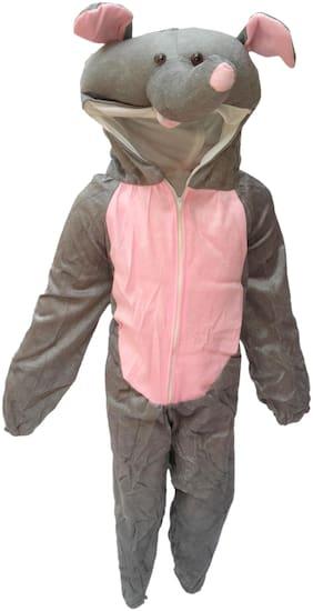 Kaku Fancy Dresses Elephant Wild Animal Costume -Grey, 7-8 Years, For Boys & Girls