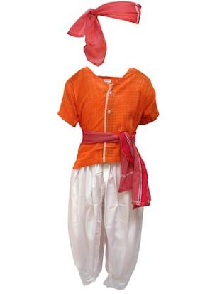 Kaku Fancy Dresses Our Community Helper Farmer Costume -Multicolour, 3-4 Years, For Boys