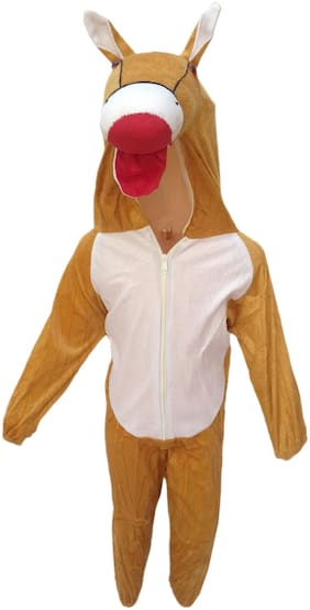 Kaku Fancy Dresses Horse Farm Animal Costume -Brown, 5-6 Years, For Boys & Girls