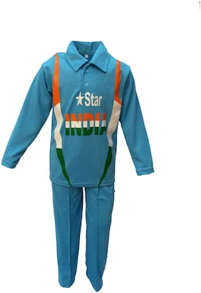 Kaku Fancy Dresses National Hero India Cricket Team Costume -Blue, 5-6 Years, For Boys