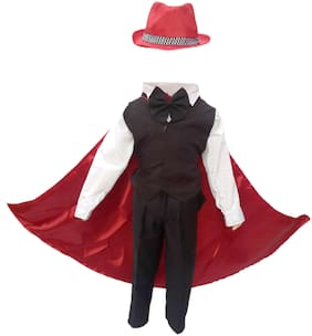 Kaku Fancy Dresses Magician,Performer/Entertainer/Magical Shows Costume -Black & Red & White, 3-4 Years, For Boys