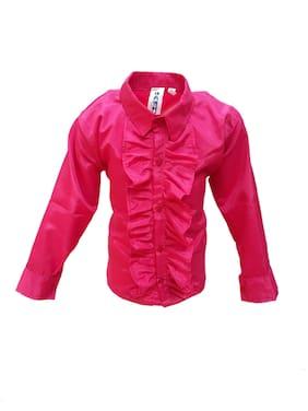 Kaku Fancy Dresses Mazanta Frill Shirt Western Costume -Magenta, 3-4 Years, For Boys